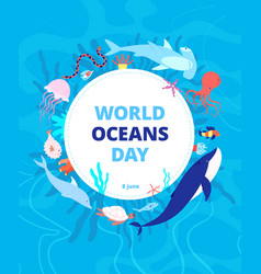 oceans day clean sea earth water world ocean vector image