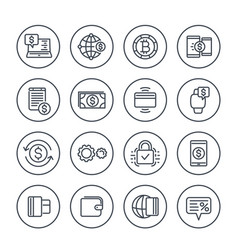 Payment methods and internet banking icons set vector