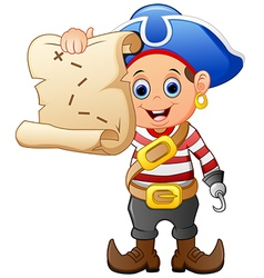 Pirate holding treasure map vector