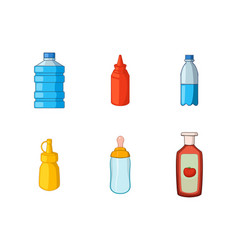 plastic bottle icon set cartoon style vector image