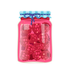 Raspberry jam or berry marmalade in glass jar vector