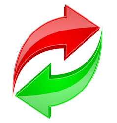 red and green arrows in circular motion recycle vector image