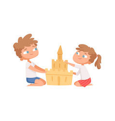 sand castle boy girl build home on beach cartoon vector image