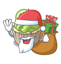santa with gift lemon cupcake mascot cartoon vector image