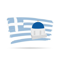 Santorin island icon with greek flag in colorful vector