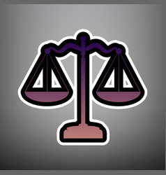 scales balance sign violet gradient icon vector image
