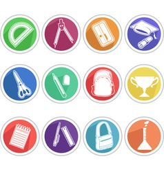 School Icon Pencil Book Bag etc vector