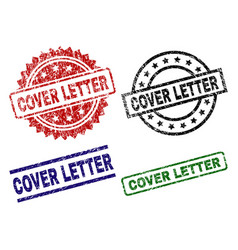 Scratched textured cover letter stamp seals vector
