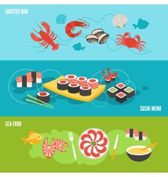 Seafood banner set vector