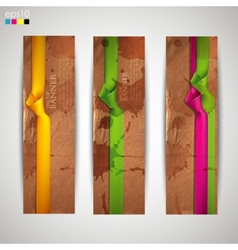 set of banners with grunge cardboard texture and vector image
