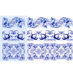 set of blue ethnic patterns in the style of vector image