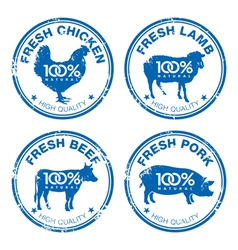Set of fresh meat stamps vector