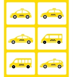 Set of yellow taxi cars vector
