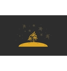 Silhouette of palm in hill landscape vector image