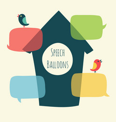 speech bubble with bird and nesting box vector image