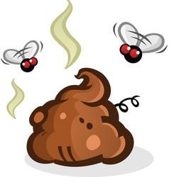 Stinky poop pile with flies cartoon vector