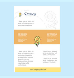 template layout for flower comany profile annual vector image
