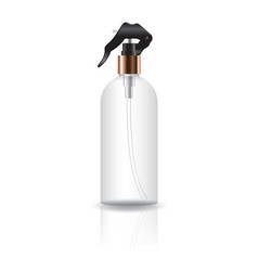 Transparent cosmetic round bottle with spray head vector