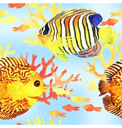 Tropic fishes seamless vector image