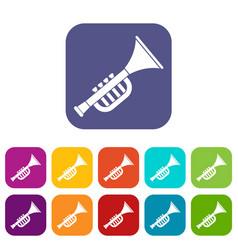 Trumpet toy icons set flat vector