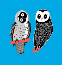 two owls on blue vector image