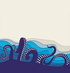 Underwater background with octopus tentacles vector