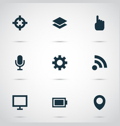 user icons set with location setting feed and vector image