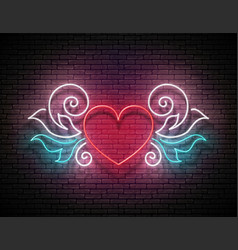 vintage glow signboard with ornate heart vector image