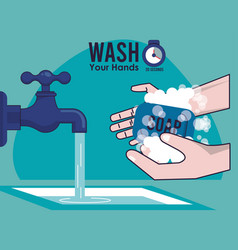 Wash your hands campaign poster hands and water vector