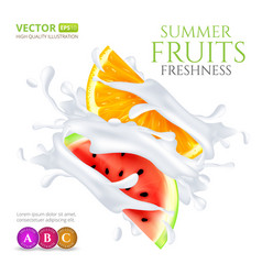 Watermelon and orange slices falling in milk or vector