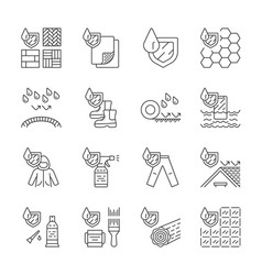 Waterproofing linear icons set vector