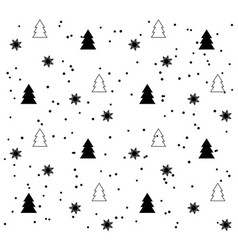 white seamless pattern with black christmas trees vector image
