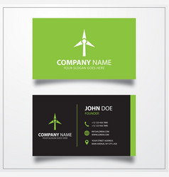 Wind turbine icon business card template vector