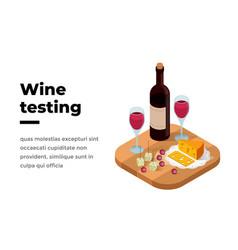 Wine tasting banner isometric vector