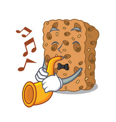 With trumpet granola bar mascot cartoon vector