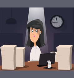 Woman working on computer at night in dark office vector