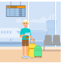 Young guy traveling by airplane airport terminal vector
