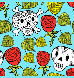 endless wallpaper with roses and sugar skulls vector image