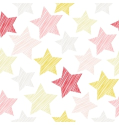 Sketch seamless pattern with stars Red pink vector image vector image
