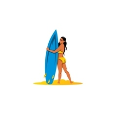 Beautiful surfer girl with surfboard sign vector image