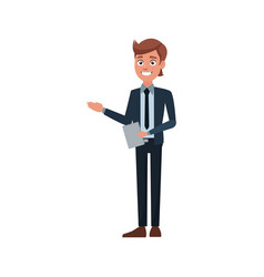 business man holding document work office vector image