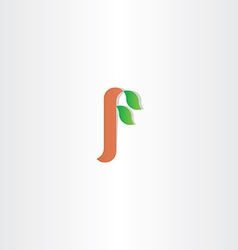 Letter f tree leaf plant eco logo vector