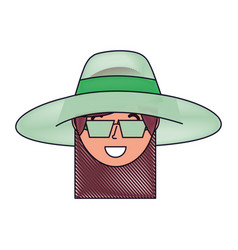 happy face woman wearing hat and sunglasses vector image
