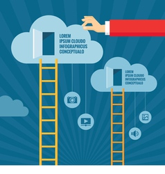 Ladders to Clouds and Open Doors vector image