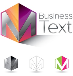 Letter M in a Box vector image vector image