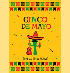 stylish yellow cinco de mayo party card invitation vector image