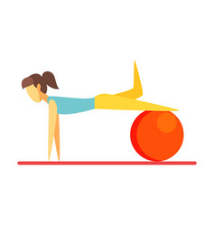 young slim brunette woman exercising with an vector image vector image