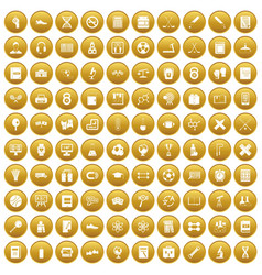 100 college icons set gold vector