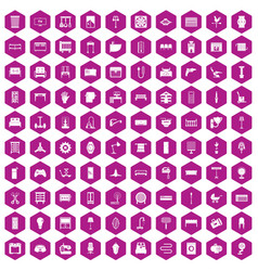 100 furnishing icons hexagon violet vector