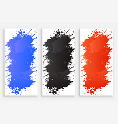 Abstract ink color splash banners set vector